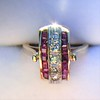 0.72ctw Retro Art Diamond and Burmese Ruby Dome Ring 7