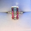 0.72ctw Retro Art Diamond and Burmese Ruby Dome Ring 5