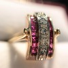 0.72ctw Retro Art Diamond and Burmese Ruby Dome Ring 19