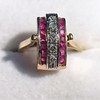 0.72ctw Retro Art Diamond and Burmese Ruby Dome Ring 10