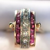 0.72ctw Retro Art Diamond and Burmese Ruby Dome Ring 18
