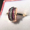 0.72ctw Retro Art Diamond and Burmese Ruby Dome Ring 6