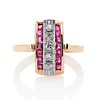 0.72ctw Retro Art Diamond and Burmese Ruby Dome Ring 0