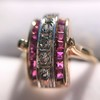 0.72ctw Retro Art Diamond and Burmese Ruby Dome Ring 20
