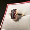 0.72ctw Retro Art Diamond and Burmese Ruby Dome Ring 15