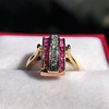 0.72ctw Retro Art Diamond and Burmese Ruby Dome Ring 14