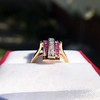 0.72ctw Retro Art Diamond and Burmese Ruby Dome Ring 13