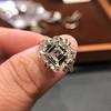 7.35ct Deco Asscher Cut Diamond Ring GIA K VS 4
