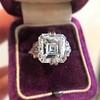 7.35ct Deco Asscher Cut Diamond Ring GIA K VS 11