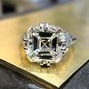 7.35ct Deco Asscher Cut Diamond Ring GIA K VS 0