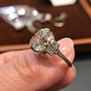 7.35ct Deco Asscher Cut Diamond Ring GIA K VS 5