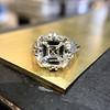 7.35ct Deco Asscher Cut Diamond Ring GIA K VS 2