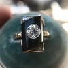 .74ct Art Deco Diamond and Onyx Ring 14
