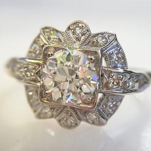 .75ct Art Deco Old European Cut Diamond Halo Ring