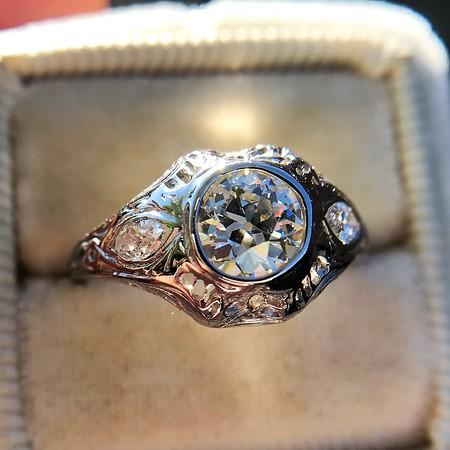.80ct Vintage Old European Cut Diamond Dome Ring