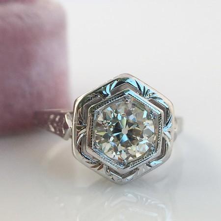 .82ct Old European Cut Diamond Art Deco Solitaire GIA M VS1