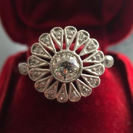 .85ctw Old European Cut Floral Motif Ring