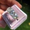 8.61ctw Antique Cushion Cut Diamond Trilogy Ring 4