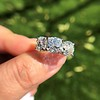 8.61ctw Antique Cushion Cut Diamond Trilogy Ring 29