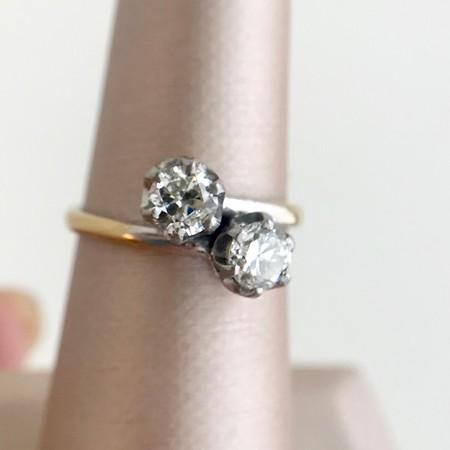.87ctw Old European Cut Diamond Bypass Ring