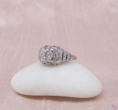 .88ct Art Deco Transitional Cut Diamond Ring