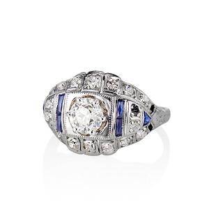 0.93ctw Art Deco Old European Cut Diamond Dome Ring