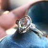 .95ctw Vintage Pear Rose Cut Diamond Bezel Ring 18