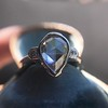 .95ctw Vintage Pear Rose Cut Diamond Bezel Ring 19