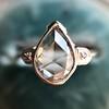 .95ctw Vintage Pear Rose Cut Diamond Bezel Ring 12