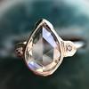 .95ctw Vintage Pear Rose Cut Diamond Bezel Ring 14