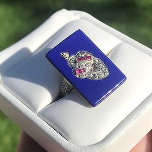 Antique Acorn Motif Enamel Ring