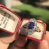 2.95ctw Antique Burmese No-Heat Sapphire Navette Ring 45