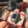 2.95ctw Antique Burmese No-Heat Sapphire Navette Ring 41