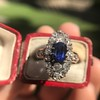 2.95ctw Antique Burmese No-Heat Sapphire Navette Ring 48