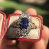 2.95ctw Antique Burmese No-Heat Sapphire Navette Ring 5