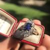 2.95ctw Antique Burmese No-Heat Sapphire Navette Ring 46