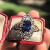 2.95ctw Antique Burmese No-Heat Sapphire Navette Ring 47