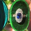 2.95ctw Antique Burmese No-Heat Sapphire Navette Ring 6