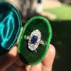 2.95ctw Antique Burmese No-Heat Sapphire Navette Ring 27