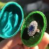 2.95ctw Antique Burmese No-Heat Sapphire Navette Ring 21