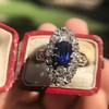 2.95ctw Antique Burmese No-Heat Sapphire Navette Ring 49