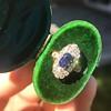 2.95ctw Antique Burmese No-Heat Sapphire Navette Ring 31