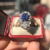 2.95ctw Antique Burmese No-Heat Sapphire Navette Ring 53