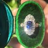 2.95ctw Antique Burmese No-Heat Sapphire Navette Ring 18