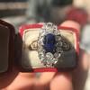 2.95ctw Antique Burmese No-Heat Sapphire Navette Ring 51