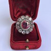 5.87ctw Antique Burmese Ruby and Diamond Cluster Ring GIA No-Heat 10