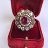 5.87ctw Antique Burmese Ruby and Diamond Cluster Ring GIA No-Heat 7