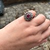 5.87ctw Antique Burmese Ruby and Diamond Cluster Ring GIA No-Heat 23