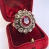 5.87ctw Antique Burmese Ruby and Diamond Cluster Ring GIA No-Heat 21