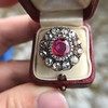 5.87ctw Antique Burmese Ruby and Diamond Cluster Ring GIA No-Heat 15